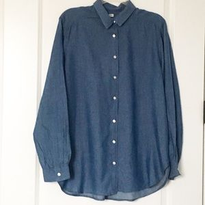Ann Taylor LOFT The Softened Shirt Chambray Large